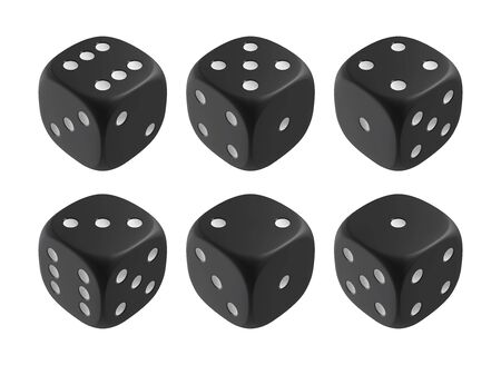Realistic black dices. Casino and gambling design elements. Vector illustration.