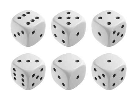 Realistic white dices. Casino and gambling design elements. Vector illustration. Ilustrace