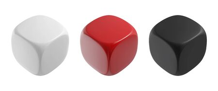 Realistic black, white and red solid cubes. Vector dices illustration. Ilustrace