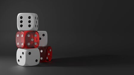 Stack of white and transparent red dices on black background. Casino and gambling concept. 3D rendering image.