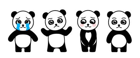 Cartoon cute little panda with different emotions. Vector illustration.