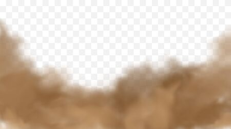 Realistic sand storm illustration. Vector brown dust cloud on transparent background. Air pollution concept. 写真素材 - 149896008