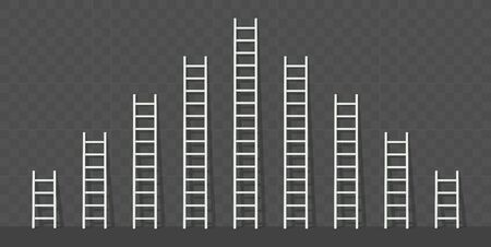 Big and small white step ladder with a shadow. Vector illustration set.