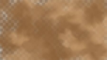 Realistic sand storm illustration. Vector brown dust cloud on transparent background. Air pollution concept.