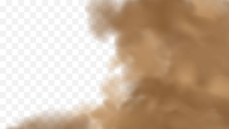 Realistic sand storm illustration. Vector brown dust cloud on transparent background. Air pollution concept. 写真素材 - 149896012