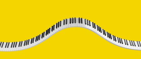 Curved grand piano keyboard isolated on yellow background. Abstract design for music banners. 3D rendering image.