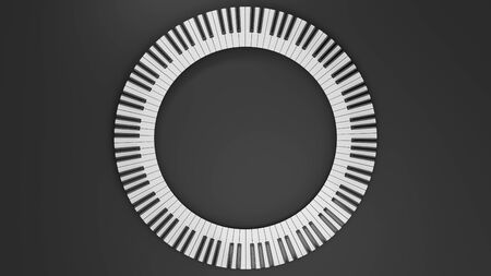 Round grand piano keyboard. Abstract design for music banners or posters. 3D rendering image.