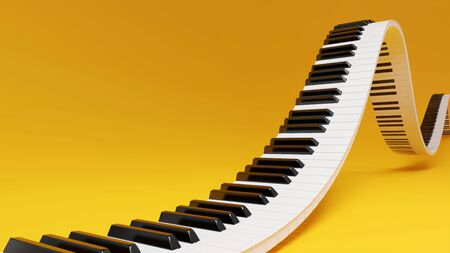 Curved wavy grand piano keyboard on yellow background. Abstract design for music banners. 3D rendering image. Reklamní fotografie