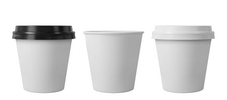 Paper coffee cups with black and white lids. Open and closed small paper cup. Realistic vector mockup. Ilustrace