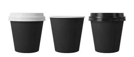 Black paper coffee cups with black and white lids. Open and closed small paper cup. Realistic vector mockup. Ilustrace