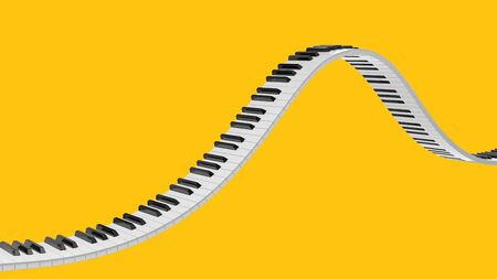 Wavy grand piano keyboard isolated on yellow background. Abstract design for music banners. 3D rendering image.