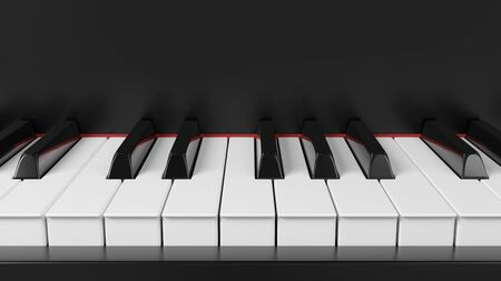 Front view grand piano keyboard. Background for music events banners. 3D rendering image. Reklamní fotografie