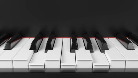 Front view grand piano keyboard with pushed keys. Chord illustration. Background for music events banners. 3D rendering image.