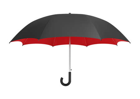 Black and red umbrella. Side view realistic vector mockup.