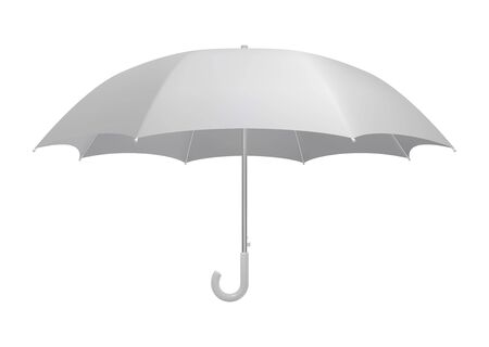 White umbrella template. Side view realistic vector mockup Ilustrace