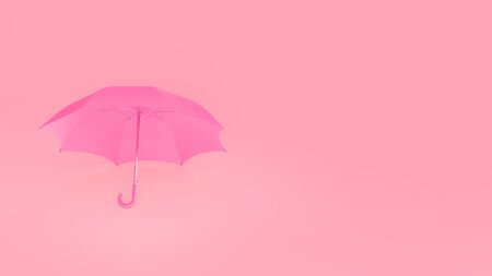Umbrella lying on the floor. Pink minimal background with copy space. Weather concept. 3D rendering image Reklamní fotografie