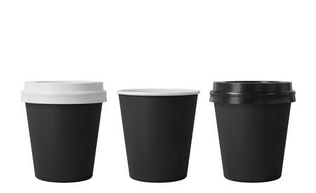 Little black paper coffee cups with black and white lids. Open and closed small paper cup. Realistic vector mockup Ilustrace