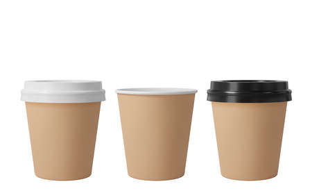 Little brown paper coffee cups with black and white lids. Open and closed small paper cup. Realistic vector mockup