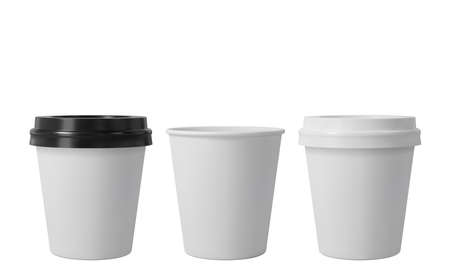 Little paper coffee cups with black and white lids. Open and closed small paper cup. Realistic vector mockup