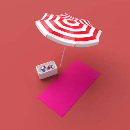 Sun umbrella with pink mat and fridge with beverages. Minimalistic vacation concept. 3D rendering image.