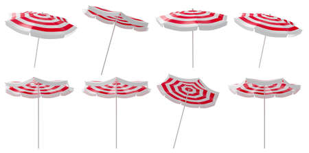 Beach umbrella set in different positions isolated on white background. 3D rendering image.