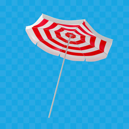 Realistic beach umbrella with red and white stripes. Vector illustration for summer design.