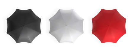 Black, white and red top view umbrellas set. Realistic vector mockup.