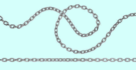Iron metal curved and straight long chain. 3D rendering isolated image.