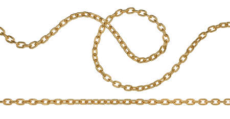 Golden metal curved and straight long chain. 3D rendering isolated image.