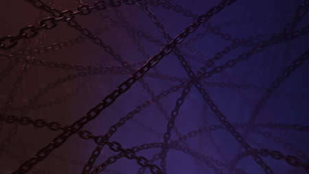Abstract dark blue background with metal chain. Tangled chains horror design concept. 3D rendering image.