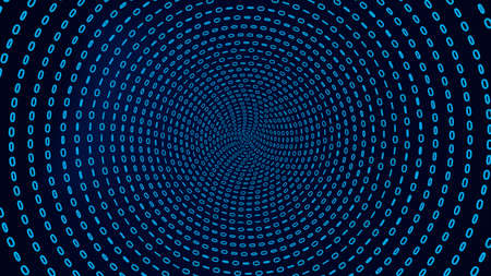 Binary code background. Blue tunnel from zero and one digits. Big data concept.