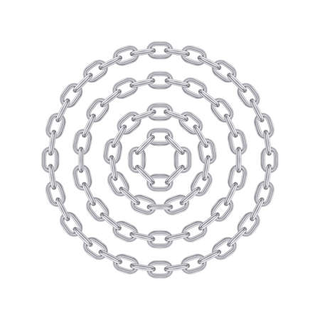 Metal round stainless steel chain set. Realistic vector looped silver chain for design. 写真素材