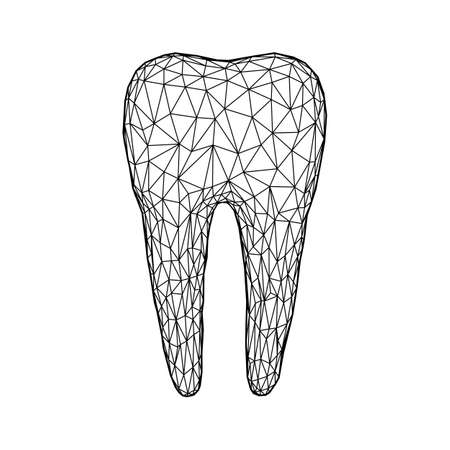 Polygonal mesh tooth. Abstract wireframe design for dental clinic. Low poly vector icon.
