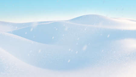 Snow hills landscape. Snowdrift with falling snowflakes illustration. Winter background. 3D render image.