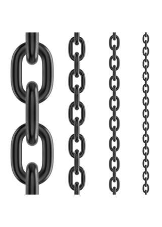 Metal stainless steel chain. Realistic vector seamless black chain for brushes and design. 写真素材