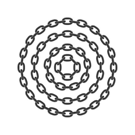 Metal round stainless steel chain set. Realistic vector looped black chain for design.