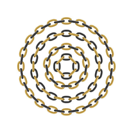Metal round stainless steel chain set. Realistic vector looped black and gold chain for design.