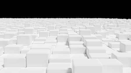 Abstract white cubes background. Minimalist city concept. 3D rendering image.