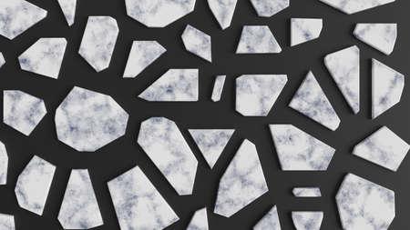 White marble mosaic on black background. Broken stone parts. 3D render illustration. 写真素材