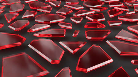 Red ruby diamonds on black background. Luxury concept with gemstones. 3D rendering image.