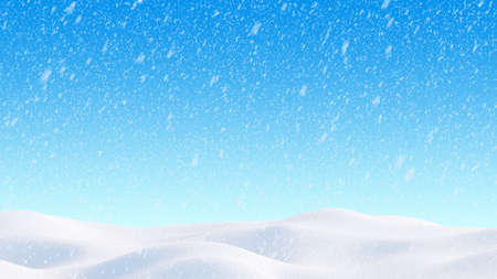 Snow hills landscape. Snowdrift with falling snowflakes illustration. Winter blizzard background. 3D render image.
