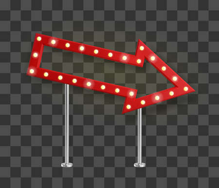 Realistic red arrow signage with yellow light bulbs pointed right and down. Show sign banner template with shadow. Vector illustration
