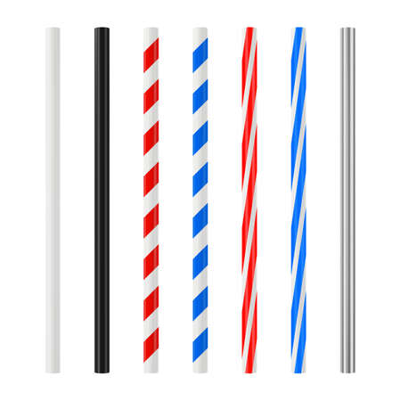 Realistic drinking straw set. Plastic cocktail tube with colored stripes. Vector mockup. Vettoriali