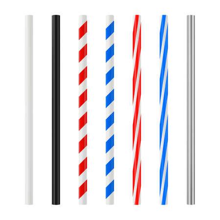Realistic drinking straw set. Plastic cocktail tube with colored stripes. Vector mockup. Vektorgrafik