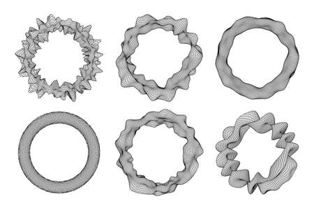 Geometric black and white distorted wired polygonal torus ring. Technology equalizer concept. Vector illustration.
