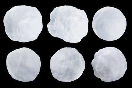 Realistic snowballs set isolated on black background. 3D rendered image.