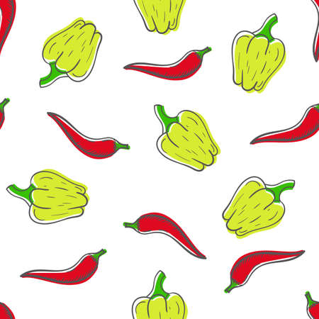 Seamless hand drawn pattern with red chili and yellow bell peppers. Vegetables vector texture. Ilustracje wektorowe