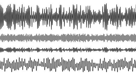 Seamless vector audio wave equalizer pattern. Music frequency. Vetores
