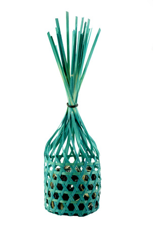 green round bamboo basket photo