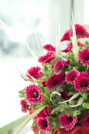 pink artificial Flowers in office photo